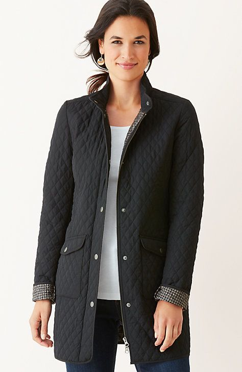 diamond-quilted long jacket
