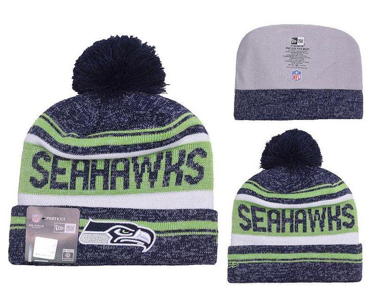 Men's / Women's Seattle Seahawks New Era 2016 NFL Snow Dayz Knit Pom Pom Beanie Hat - Navy / Green