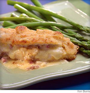 Ham, cheese and chicken-what's not to like? And, this recipe is quick and easy. Brown the chicken before you bake it to give it a beautiful color. Finishing it in the oven ensures that it cooks evenly throughout.