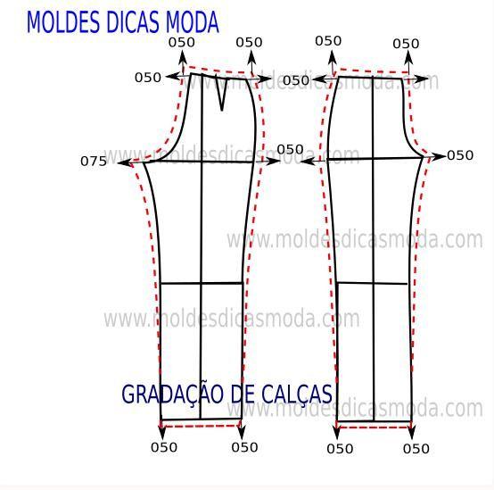 Método de gradação de calça para aumentar ou diminuir de tamanho para tamanho. No blogue já existe um outro método de gradação de calças.