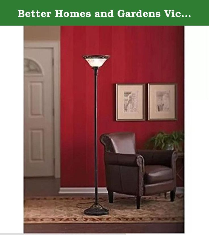 Better Homes and Gardens Victorian Floor Lamp 12316-005. The Better Homes and Gardens Victorian floor lamp will add soft lighting and elegant style to a living room, bedroom or den. It features intricate Victorian details and a classic yet contemporary bronze finish. The frosted shade on this torchiere bronze floor lamp features graceful, detailed etching for added beauty. Add attractive lighting to your room and ensure you have enough to see by. This illuminating piece will complement a...