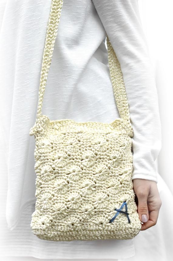 Personalized Knit bag, Ivory crossbody purse, Crochet cream handbag, Handmade Gi…