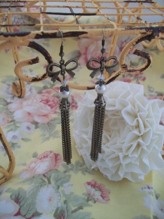 Bow Earrings #bow #earrings #tassel #pearl #wedding #bride