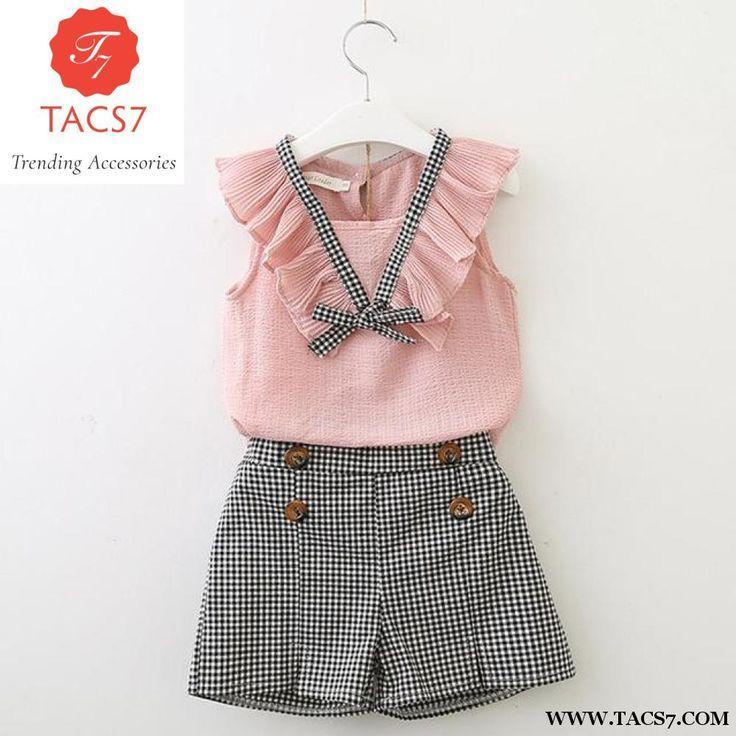 Sleeveless Summer Style Baby Girls Shirt Shorts Belt Trending