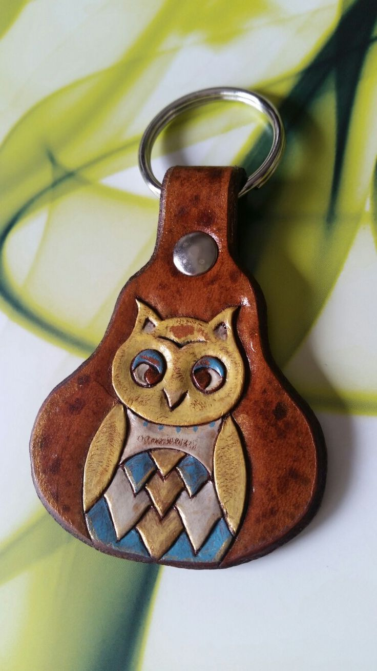 Hand Tooled Owl Leather Keychain                                                                                                                                                                                 More