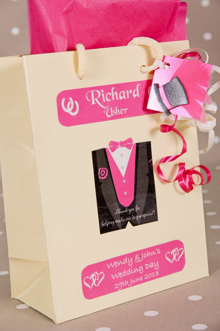 Personalised Gift Bag for Usher and other male wedding attendants. Available in 4 sizes and made to match your wedding colour scheme