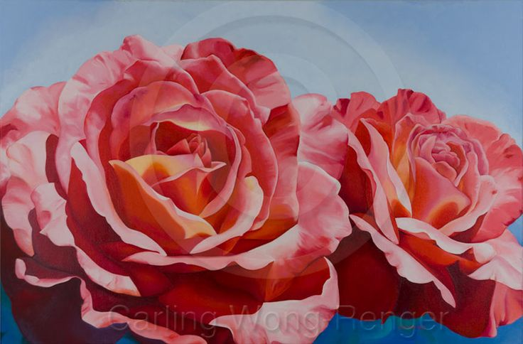 """Tuscany Sun Roses by Carling Wong-Renger, Oil on canvas, 24 X 36"""""""