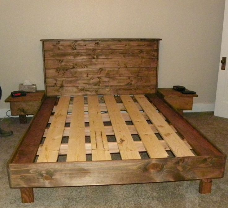 A Queen Size Bed Platform No Box Spring Necessary Built From 2x4s 1x6 S And Tongue Groove White Pine For The Headboard Walnut Stain