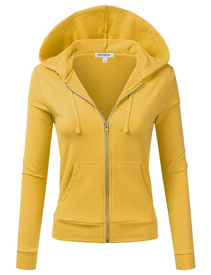 Doublju Womens Basic Lightweight Zip-Up Hoodie Jacket at Amazon Women's Clothing store: