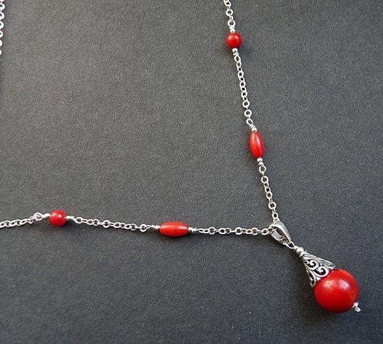 Naszyjnik ze srebra oraz korala czerwonego. #koral #srebro #nekless