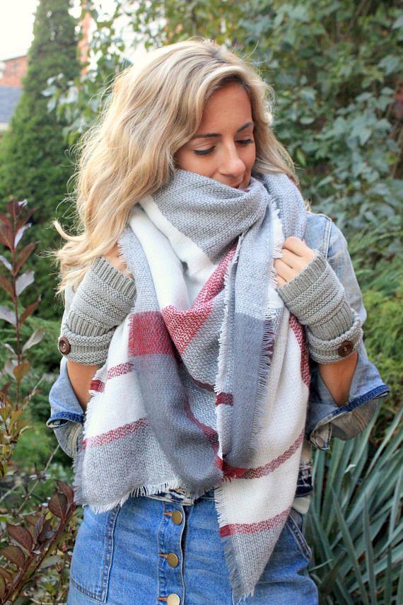 CandyCane Plaid Blanket Scarf, Winter scarf, Wool Blanket scarf, Plaid Scarf, Blanket plaid scarf, Bridesmaid Scarf  #scarf #scarfforwomen #winter #gloves #giftideas #giftforher #winterfashion #fashion #style #howtowearascarf  #winterwonderland #ad #ss