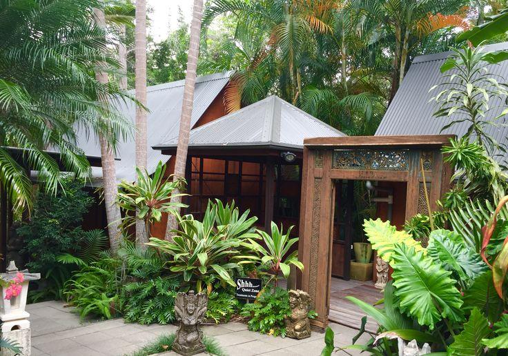 Treatment rooms amoungst the gardens at ikatan Spa Noosa.  http://ikatanspa.com/