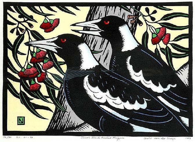 Leslie Van Der Sluys (1939-2010). Jesse's Black Backed Magpie. 1993. Handcoloured linocut.