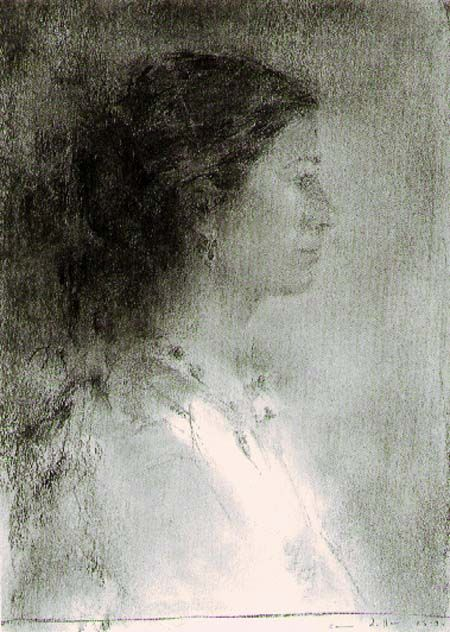 "Carmen Laffón, Sevilla, España (1934), pintora y escultora figurativa. ""Homenaje a Murillo II"" (1984). Carbón sobre papel, 455x325mm."