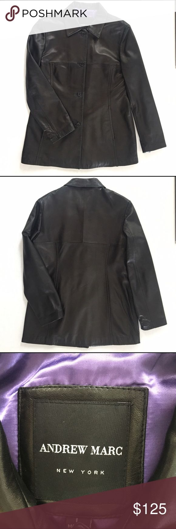 Andrew Marc NWOT Black Leather Lambskin Jacket This feels like the softest thing you've ever felt in your life.    New but without tags. Andrew Marc Jackets & Coats