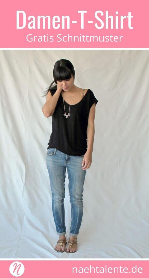 679713570cfa00 Gratis Schnittmuster für ein Damenshirt mit tiefem Ausschnitt. PDF- Schnittmuster Größe S, M