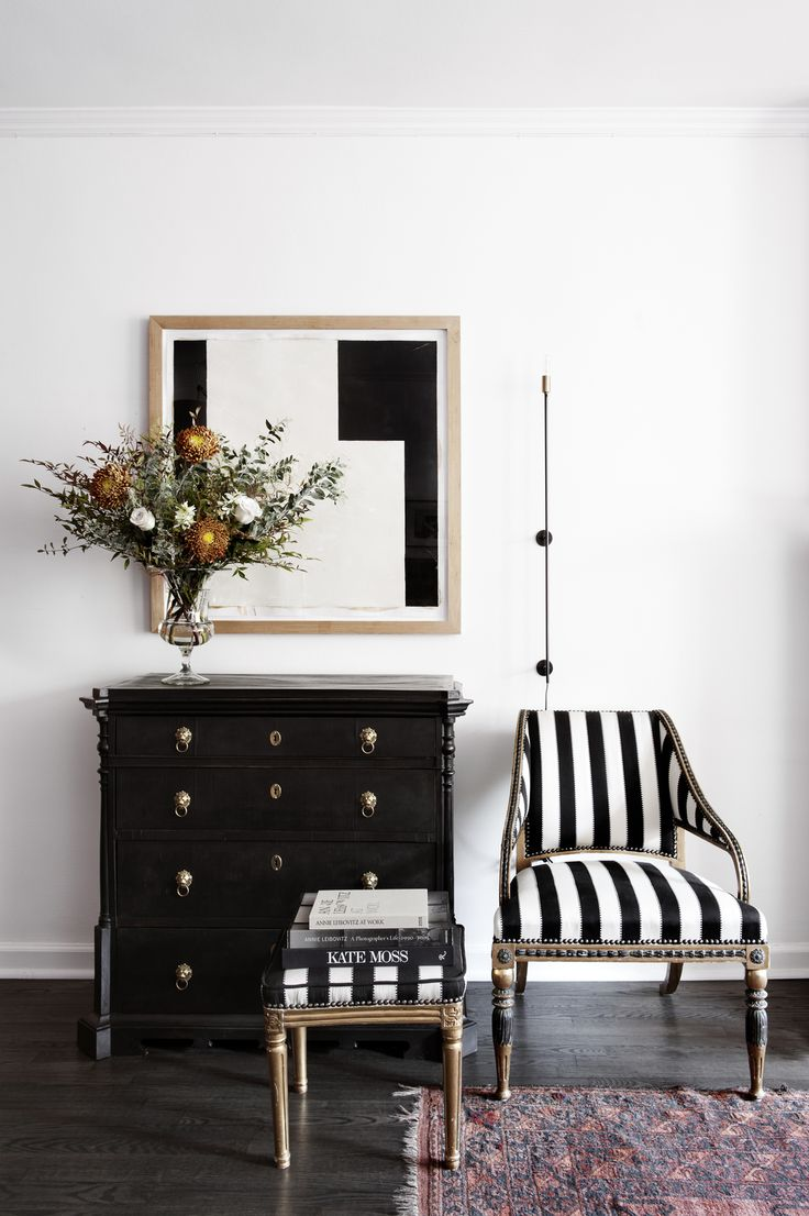 Black chair and white chair - Laserow Antiques Interior Design Black And White Striped Chair