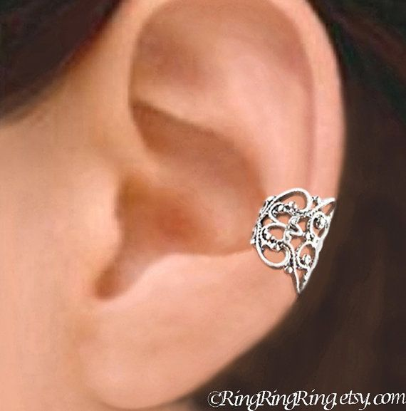 925 Lace Filigree - Sterling Sliver ear cuff earring jewelry - non pierced earcuff clip 011013