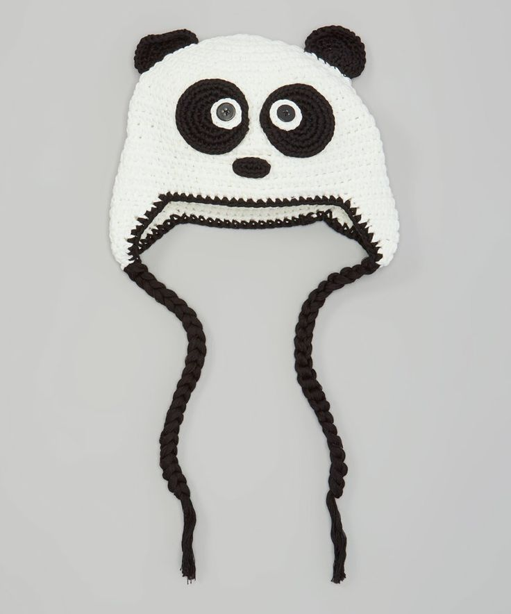 Take a look at this Black & White Panda Earflap Beanie today!