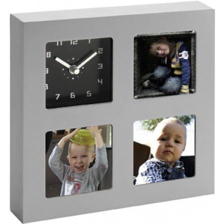 Kunststof fotolijst voor 3 foto' met klok.