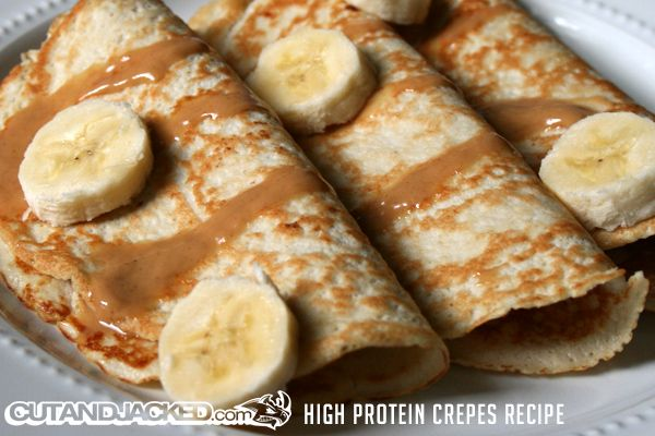 High protein crepes: 1 medium Banana 2 scoops unflavored Whey Protein Powder ½ cup Egg Whites 1 Tbsp. unsweetened Vanilla Almond Milk  Yield: 6 crepes  Macros: 3 crepes Calories: 223.5 Protein: 35.5g Fat: 2.1g Carbs: 15.5g