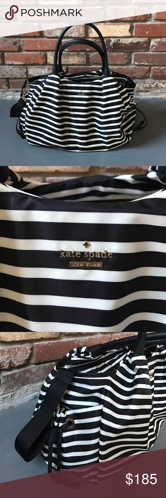Kate Spade classic nylon diaper bag Gorgeous black and white striped, Kate spade bag. Only used a handful of times. In great condition!! kate spade Bags Baby Bags