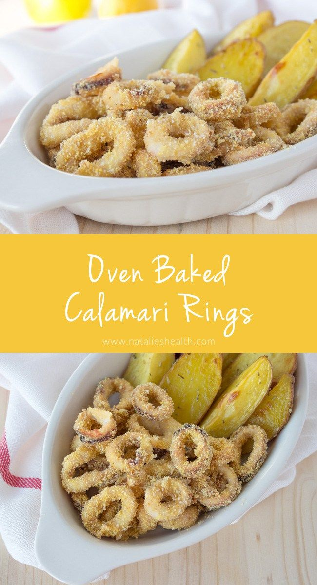 Crispy oven baked calamari rings prepared without added fat. Easy, simple and healthy meal for the whole family. Click to read more or pin and save for later!