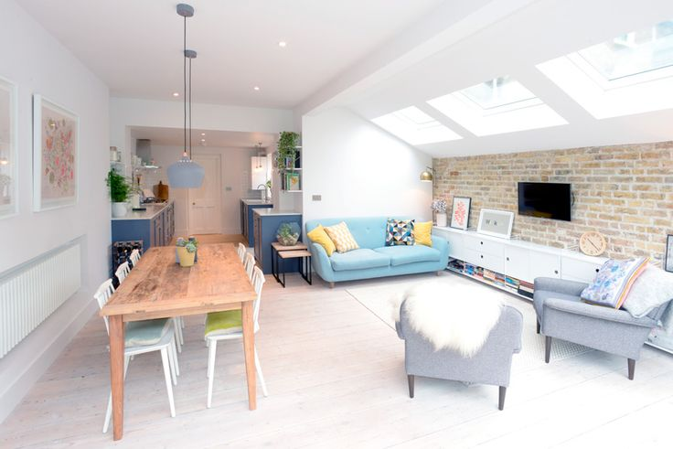 Stroud Green, N5, London, Side Return Extension, Kitchen Extension, Ground Floor Flat Extension, Bi-Fold Doors, Kitchen, Rear Extension, Roof-lights, Pitched Roof, Side Return Ideas, Kitchen Extension Ideas, Dining Area Ideas, Living Area Ideas, Open Plan Living, Dining Table, Exposed Brick