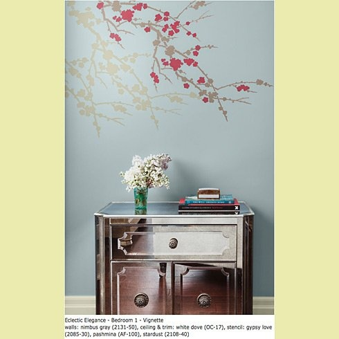 Stencil with color recommendations by Benjamin Moore/Cutting Edge Stencils