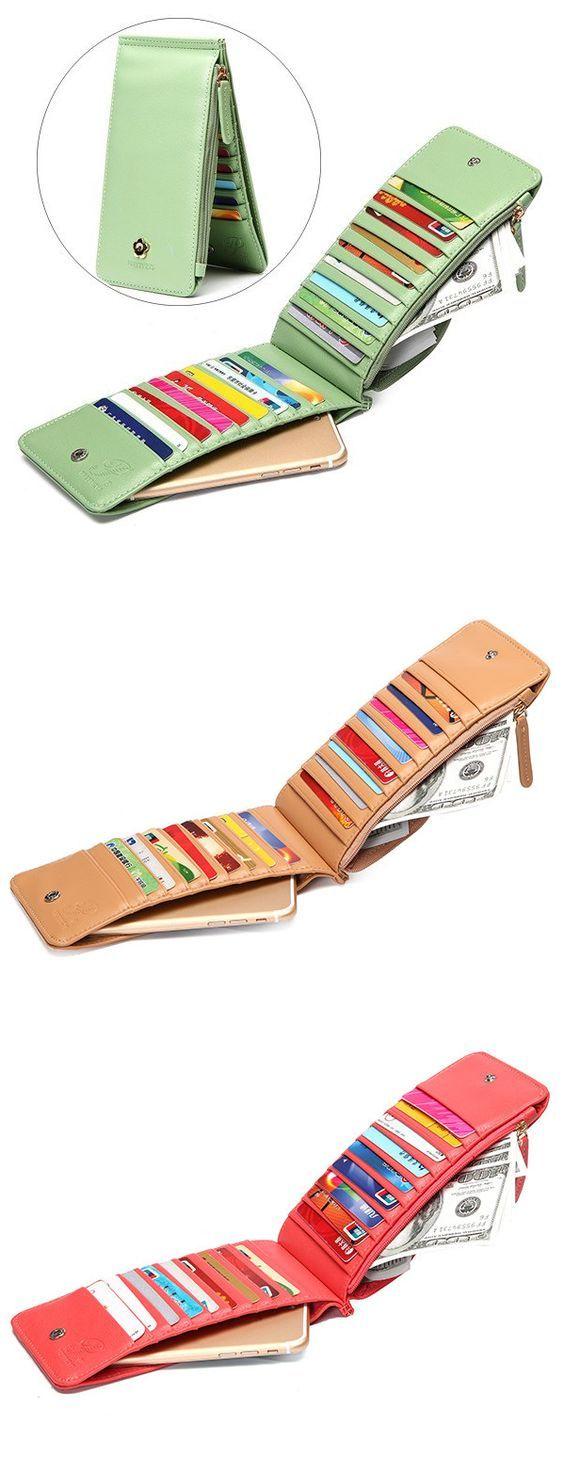 Women Vintage Flower Metal Hasp 20 Card Slots Ultra-thin Card Holders Purse Wallet 5.5inch Phone Bag