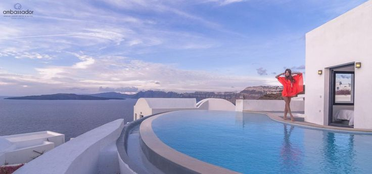Enjoy every moment in your private pool with a stunning sea view! #Santorini More at ambassadorhotelsantorini.com