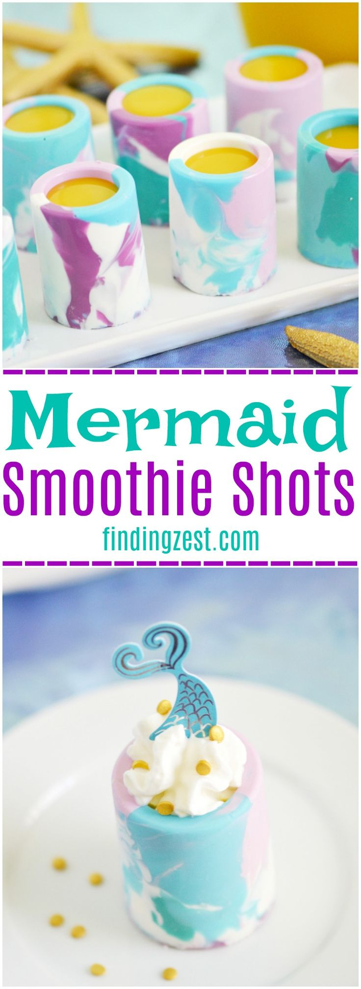 Surprise birthday party guests with these Mermaid Smoothie Shots! These marbled chocolate shot glasses are perfect for filling with your favorite tropical fruit smoothies. These kid-friendly shots work great for any Under the Sea themed party! - from findingzest.com