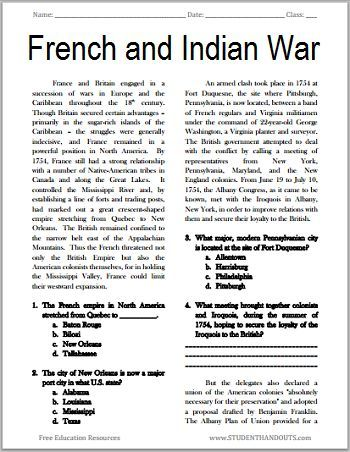 The French and Indian War - Free Printable American History Reading with Questions, Grades 7-12