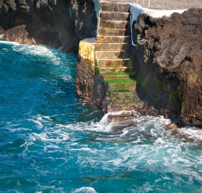 Stairs into the beach at Tenerife Island