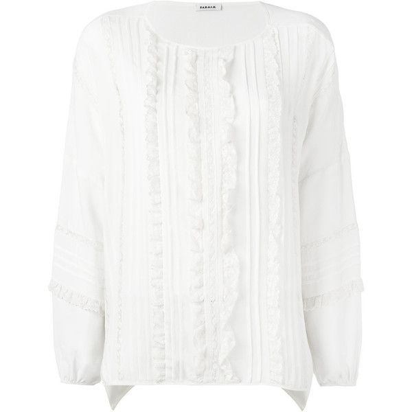 P.A.R.O.S.H. lace placket blouse ($349) ❤ liked on Polyvore featuring tops, blouses, white, white lace blouse, lacy white top, lacy blouses, white lace top and lacy white blouse