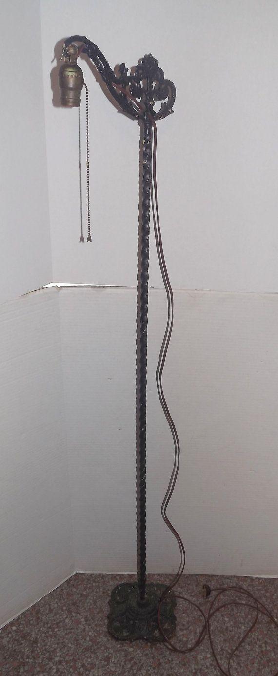 Antique Gothic Bridge Floor Lamp Spiral Column By