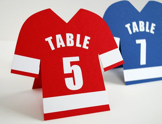Football Shirt Table Number - more football themed ideas at http://www.toptableplanner.com/blog/football-themed-wedding-table-plans
