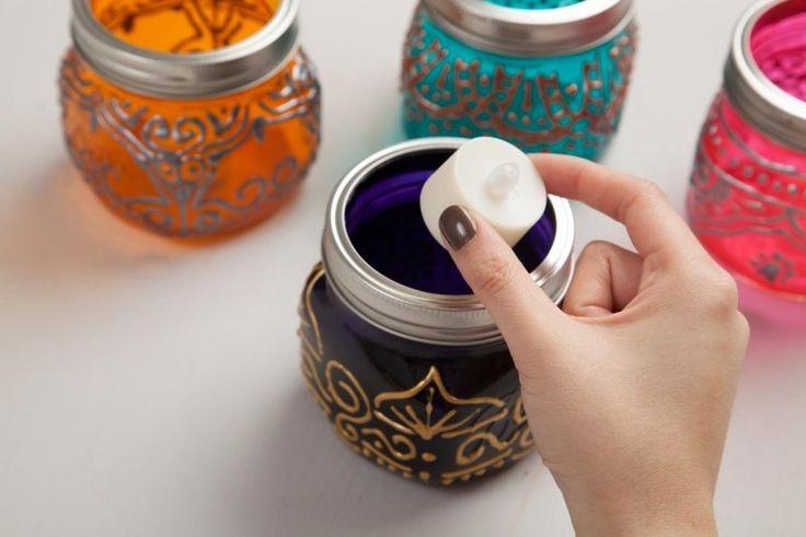 photophores à faire soi-même de style oriental - des bocaux décorés de peinture alimentaire, peinture 3D et bougies LED
