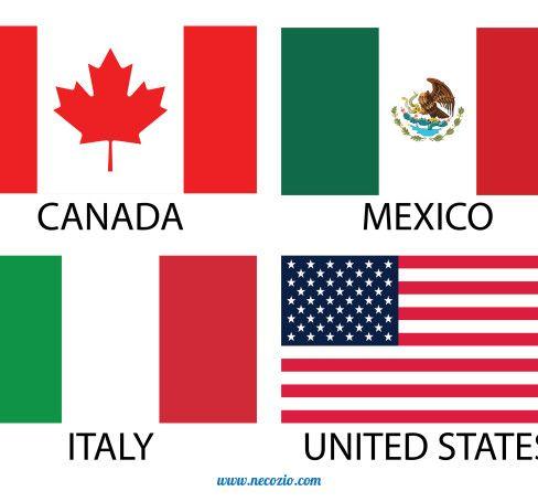 Bandiera dell'Italia vettoriale (contiene anche bandiere vettoriali del Messico, Canada e Stati Uniti).
