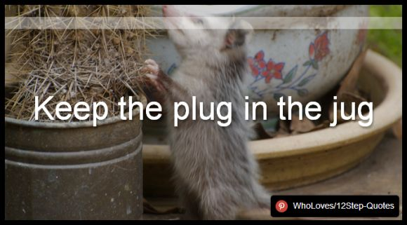 Keep the plug in the jug - www.pinterest.com/WhoLoves/12Step-Quotes #12Steps #InspirationalQuotes #Quotes