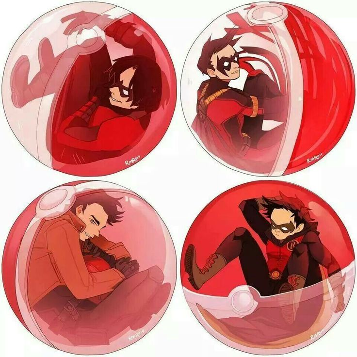 Robins in pokeballs. Nightwing (Dick Grayson), Red Hood (Jason Todd), Red Robin (Tim Drake, Robin (Damien Wayne).  Credits to the artist