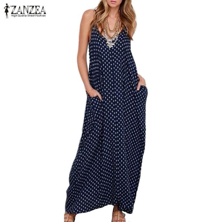 New ZANZEA Summer Dress Fashion Women Dress Strapless Polka Dot Loose Beach Long Maxi Dress Vintage Vestidos Plus Size $18.90 => Save up to 60% and Free Shipping => Order Now! #fashion #woman #shop #diy www.greatdress.ne...