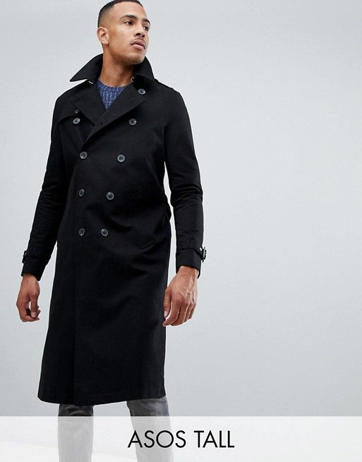 6e564eb6d DESIGN Tall shower resistant longline trench coat with belt in black    Diana shopping   Coat, Trench, Long a line