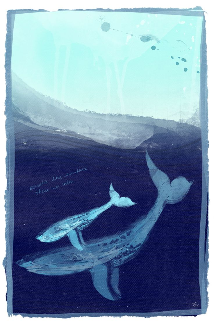 Beneath the Surface' Two magical humpback whales, mother and child, retreat to the bottom of the ocean to find peace and quiet from the storm above. Art by Esther Sanchez