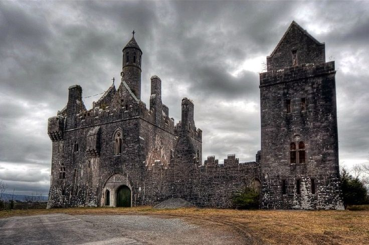 Dromore Castle built in 1870 for the Earl of Limerick in County Limerick, Ireland.   Forgotten