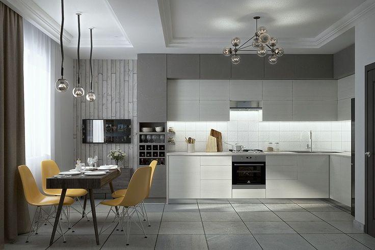 contemporary white kitchen set decor