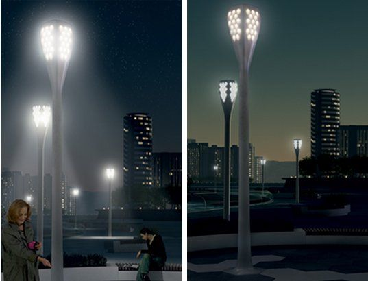 Designed for the Phillips Simplicity Event in 2008, the Sustainable City Light is an intelligent outdoor lighting system meant to enhance city life by providing accurate lighting on demand as needed. The LED lights feature motion sensors that are triggered once the sun sets by individuals walking in close proximity to the light.