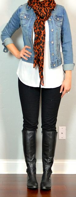 outfit post: white blouse, black skinny jeans, jean jacket, leopard scarf...... So stealing my bf white shirt