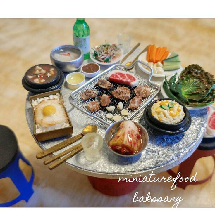 벌써 4년 전 작품. 드럼통 연탄 삼겹살 구이.  스위트돌하우스 워크샵  #미니어쳐#미니어쳐음식 #돌하우스#삼겹살#연탄구이#miniature #miniaturefood#grilled#koreanfood #ミニチュア #粘土