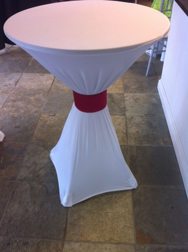Spandex Linen On A Cocktail Table With A Decorative Cuff
